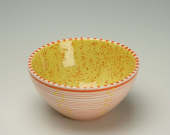 Yellow with Orange Flecks Wonderful Bowl Spiral and Dots Hand Painted Multicolorful Dinnerware