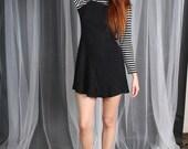 Dress 1990s  Vintage 90s Black Gray Striped Fit Flare Mini Shirt under dress S Small  M Medium
