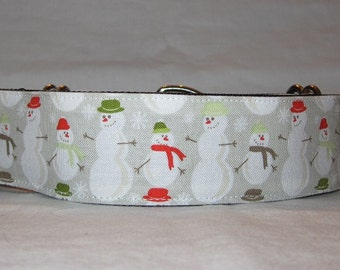 SALE Snowman Winter Martingale Dog Collar - 1.5 Inch - gray grey red green fun Chrismas holiday cold weather