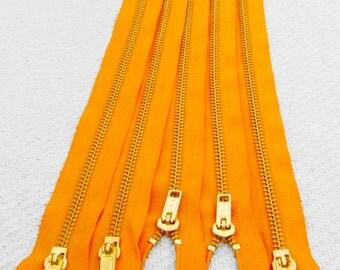 NEW: 10inch - Golden Sunrise Metal Zipper - Gold Teeth - 5pcs