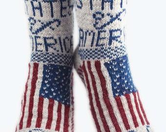 KNITTING PATTERN for Flag Socks: USA - Sock pattern - Charted pattern - digital download - Colorwork pattern - Stranded knitting - Patriotic