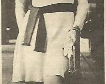 1970s Luis Estevez California Couture Pattern E 7001 Uncut FF Flared Dress Cowl Neck Dropped Waist  Bust 34 Bust 38 Vintage Sewing Pattern