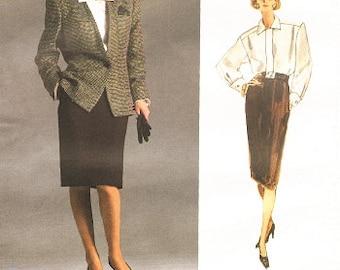 1980s Anne Klein Vogue Sewing Pattern Slim Skirt Jacket Tailored Blouse Office Wear Vogue 1931 Sz 12 Bust 34 Women's Vintage Sewing Pattern