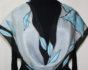 Grey Silk Scarf, Black Hand Painted Silk Shawl. Hand Dyed Silk Scarf CRYSTAL FLOWERS. Size 11x60, Mother Gift, Bridesmaid Gift, Gift-Wrapped