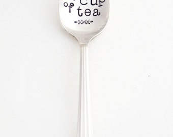 You're MY Cup of Tea Stamped Teaspoon. Gift Idea for Tea Lover. Engraved Spoon. Gift for Partner. The ORIGINAL Hand Stamped Vintage Spoons™