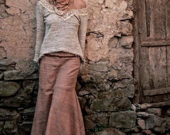 Long Skirt made of Hand woven Khadi cotton Natural Earthy