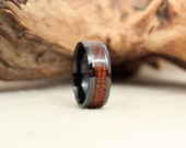 Black Ceramic Ring with Exhibition Grade Hawaiian Koa