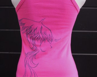Hand-detailed phoenix cami/singlet in pink