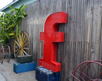 Vintage Marquee Sign Letter Lowercase 'F': Huge, Giant Red Wall Hanging Initial -- Industrial Neon Channel Advertising Salvage