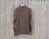 Vintage WWII Olive Drab Button Sweater Mens Large