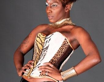 SALE item. Animal print faux fur corset burlesque UK size 8 - 10