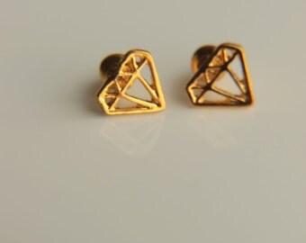 A pair of Minimalist Stud Earrings: Diamond shaped stud earrings for everyday use,tiny stud earrings, gold plated earrings, pink gold stud