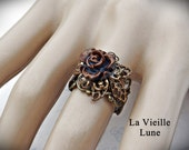 Bronze Rose Flower Cabochon Ring, Victorian Ring, Victorian Jewelry