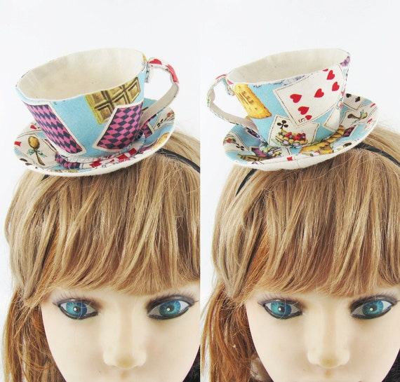 Teacup Fascinator-Alice in wonderland Cards & Tea party in Blue