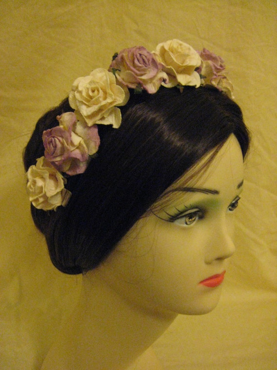Lilac and Ivory Rose Coronet/Headdress. Civil War, Victorian, Bridal. HANDMADE