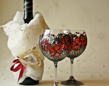 Wine Glasses, Goblets, Candle Holder, Christmas Glasses, set of 2, Hand Painted
