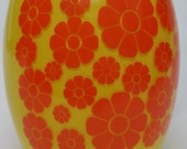 Vintage Cookie Jar Bartlett Collins Mod Flower Power Yellow and Orange