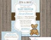 Boy Teddy Bear Baby Shower Invitation with Free Diaper Raffle Card,  Printable Files, Blue, Polka Dots, Teddy Bear, Baby Boy, Blue & Brown