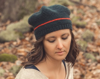 KNITTING PATTERN PDF for slouchy beret-hat in worsted/aran weight-Bonhomie