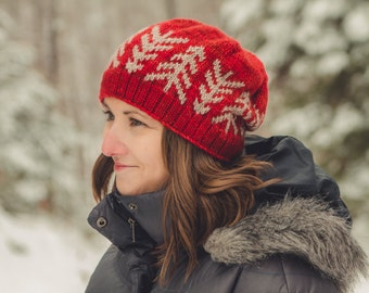KNITTING PATTERN PDF file for colorwork pine tree motif hat-Lodgepole Hat