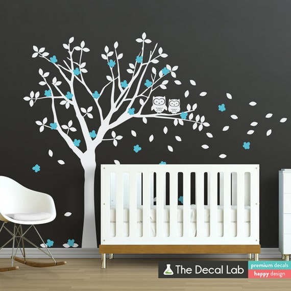 Baby room wall decals tree and owl wall decal set tree wall for Bird and owl tree wall mural set