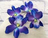 Wedding hair accessories Blue purple dendrobium orchid bobby pins - set of 4 Bridal hair flowers