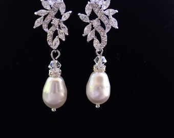 Stud Bridal Earrings, Pearl Drop Earrings CZ Leafy Wedding Earrings,Crystal Bridal Jewelry, SUMMER Earrings