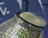 Unisex Mirror Ball Disco Ball Visor SINGLE SIDED Hat Festival Party Glitter Sequin Fancy Dress Baseball Cap Mosaic Silver Gold