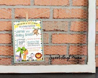Jungle Animal Baby Sprinkle - Safari Baby Sprinkle - Baby Sprinkle Invitation - Monkey Lion Zebra Giraffe - Customize - 5x7 - Gender Neutral