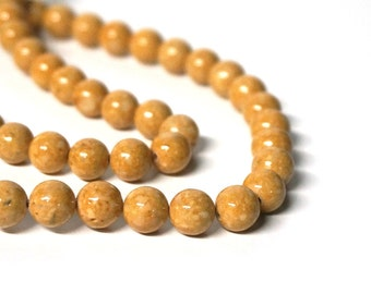 riverstone beads golden brown tan gemstone, 8mm round, full & half strands available  (1075S)