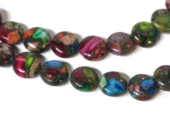 12mm coin Mixed Impression Jasper, Colorful Gemstone Beads, Full & Half strands available  (1095S)