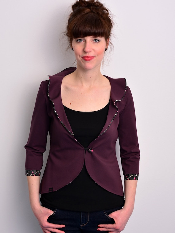 floral jersey blazer - bordeaux red