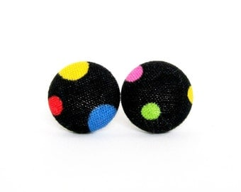 Funky button earrings - bright fabric stud earrings - black green red blue pink dots