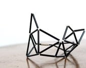 Black Faceted Bracelet- Prism Geometrical Statement Cuff Bracelet- Himmeli Inspired