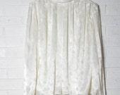 Victorian Top White Cream Silk Print Shirt Blouse Elegant