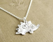 Bubble Hedgehog Necklace, Fine Silver Hedgehog Necklace, Sterling Silver Chain, Made To Order