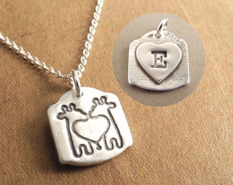 Personalized Mini Twin Giraffe Necklace with Heart Monogram on Back, Fine Silver, Sterling Silver Chain, Made To Order