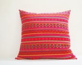 Bright Red Woven Pillow Cover , Colorful Cushion Cover with Multi Color Weaving , Bright Decor Pillow , Throw Pillow , Spring Summer