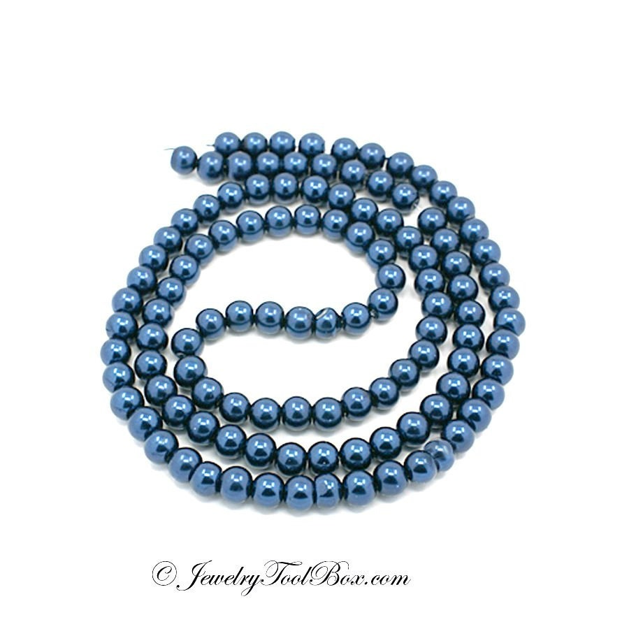 glass pearl bead strands pearlized glass steel blue