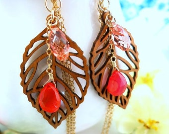 Wood leaf orange carnelian gold tassle earrings, laser carved wood leaf Fall foliage earrings, pocahantas woodland leaf earrings