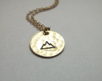 Mountain Charm Necklace // Engraved Necklace // Strength Necklace // Hand-Stamped // Hammered Necklace // Mountain Jewelry
