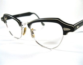 Vintage horn rimmed glasses. black and white layered combo frames no lenses cat eye style striped. Bausch and Lomb B&L 44-18