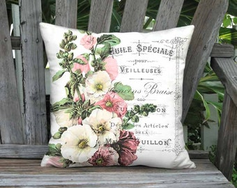 Pillow Cover - Pillow - Pink and White Hollyhock French Cottage Botanical Decor 16x 18x 20x 22x 24x 26x 28x Inch Linen Cotton Cushion Cover