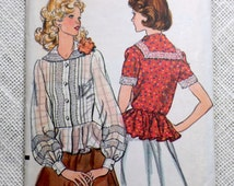 Vintage 1970s sewing pattern Vogue 9091 Romantic prairie blouse Peplum Bust 31.5 Sailor collar Puffy sleeves 1970s 1975 sailor nautical