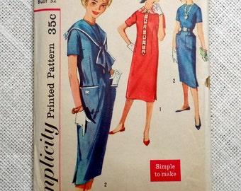 Vintage Pattern Simplicity 2644 1960s Sailor skooter Sack shift dress v neck long Tie Mad Men Mod Bust 32 Jackie Kennedy Onassis