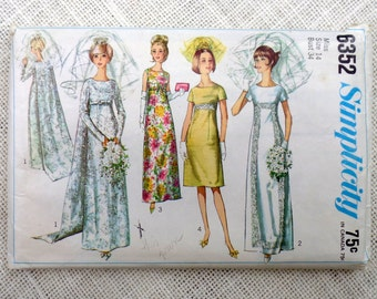 Vintage sewing pattern Simplicity 6352 1960s 1965 wedding dress Mad Men Bridesmaid Jackie Kennedy Train Bust 34 High waist Empire waist