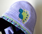 hooded towel french lilac peacock bird appliqué infant child girl gift personalized