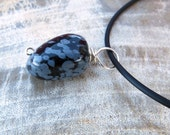 chunky . pendant . key or phone fob . snowflake obsidian . black kissed with gray . natural stone . under 10 dollars .  nice little gift