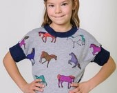 Girls back to school clothes, kids toddler girls shirt, back to school, horses on grey, soft sensory friendly bamboo cotton, 2t 3t 4t 5t