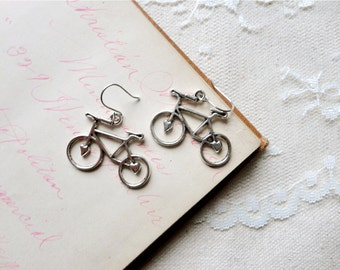 Antiqued silver adorable bicycle earrings, Spokes, Gears, Handles, & Seats
